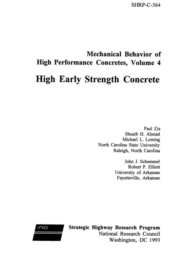 Mechanical Behavior of High Performance Concretes, Volume 4: High Early Strength Concrete [PUB]