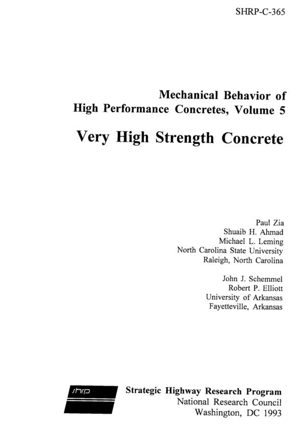Mechanical Behavior of High Performance Concretes, Volume 5: Very High Strength Concrete [PUB]